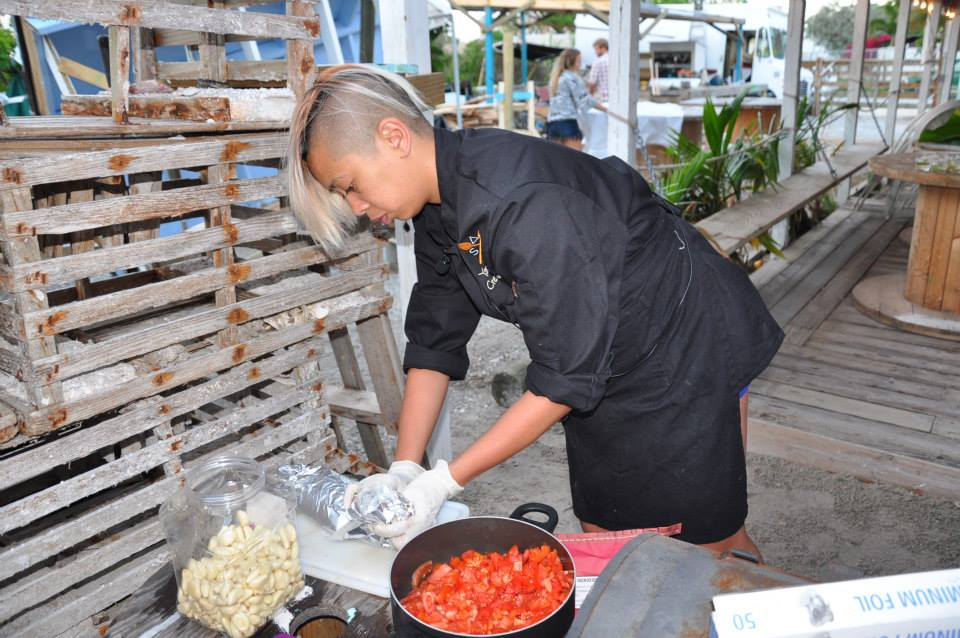 Yana Gilbuena prepares a meal at Coast in Key West, Florida