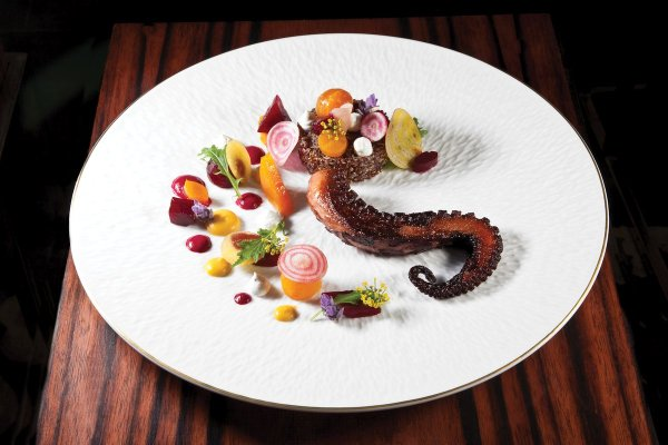 Charred Spanish Octopus by Marc Ehrler. Photo by Battman. Master Chefs of France, 2017