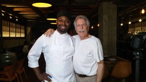 Chef Brian Fowler of Black Barn restaurant in New York, with Battman.
