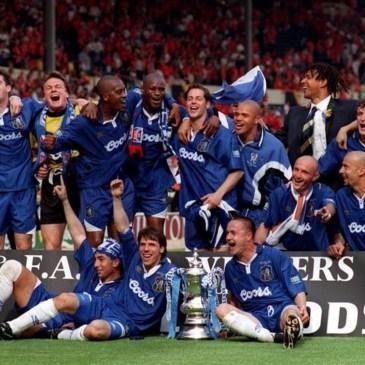 Chelsea celebrate winning the FA Cup in 1997 under Ruud Gulit.