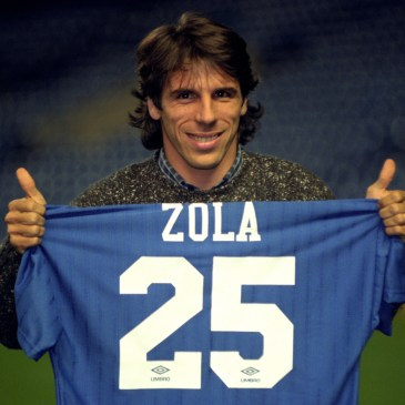 Gianfranco Zola poses with Chelsea shirt after signing from Parma in 1995.