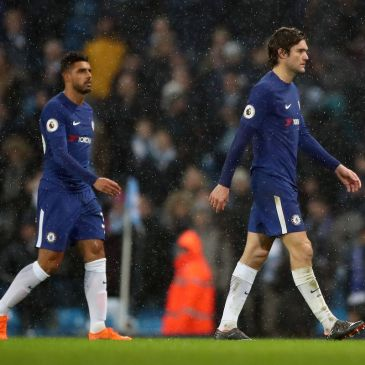 Marcos Alonso and Emerson Palmieri of Chelsea FC.
