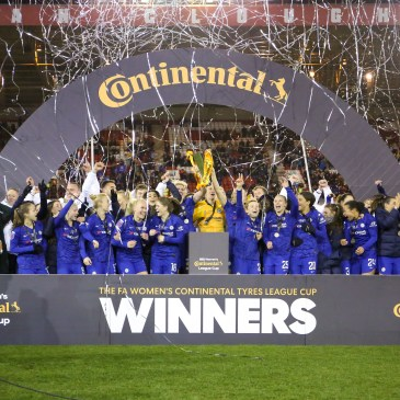 Chelsea Women win the 2020 Women's Continental Tyres League Cup.