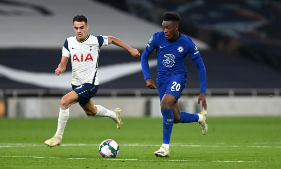 Callum Hudson-Odoi in action for Chelsea FC in the Carabao Cup.