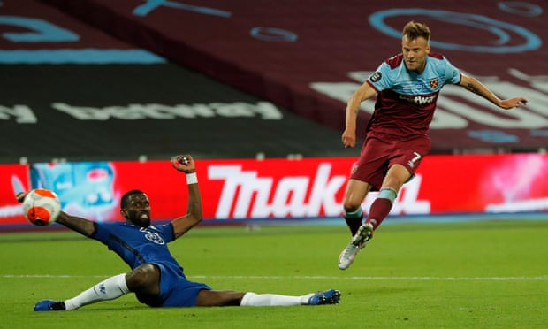 Rudiger with another disappointing moment, this time against West Ham's Yarmolenko in allowing him to seal the Hammers dramatic 3-2 win over Chelsea. Credit: Tom Jenkins/NMC Pool/The Guardian