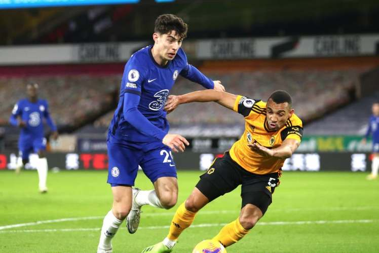 Despite his attempts to get into the game, Kai Havertz again was not at his best against Wolves. Credit: Getty Images