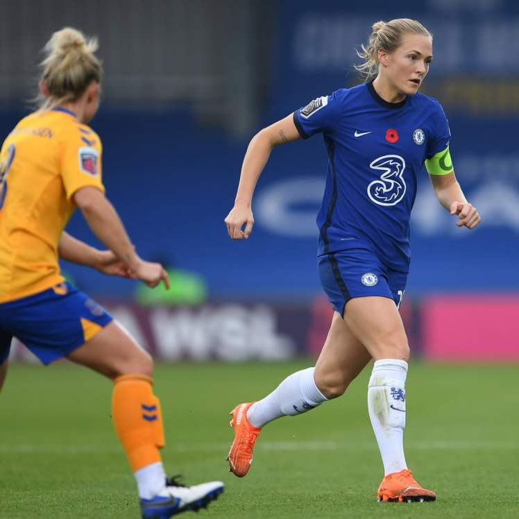 Captain Magda Eriksson marshalls for the Blues.