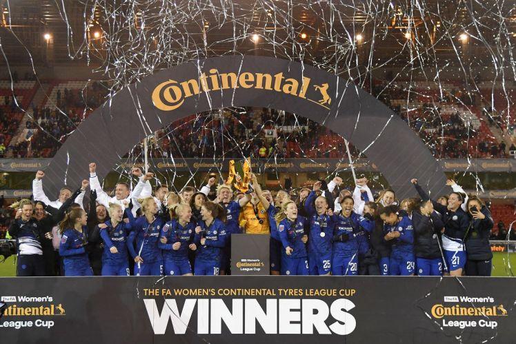 Chelsea FCW Celebrate their Continental Cup triumph last season.