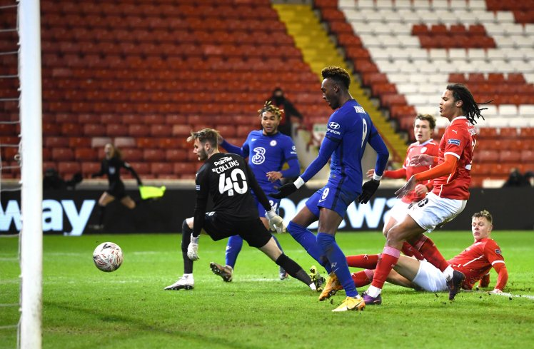 Tammy Abraham's tap-in makes it Barnsley 0-1 Chelsea.