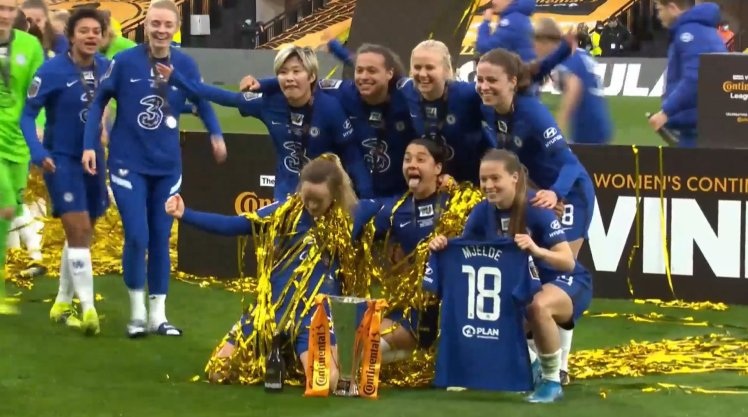 The Blues celebrate the Continental Cup triumph after it ends Bristol City 0-6 Chelsea.