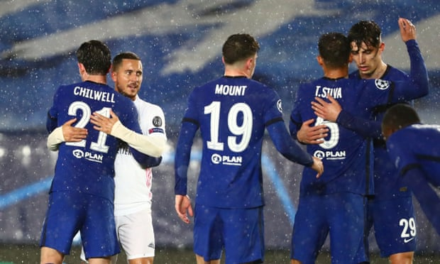 Ben Chilwell hugging Eden Hazard after the first tie Vs Real Madrid(Photo by Diego Souto/Quality Sport Images/Getty Images)