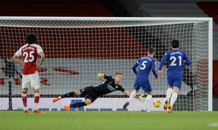Jorginho missed a late penalty that confirmed it wasn't Chelsea's night against Arsenal. Credit   Tom Jenkins/NMC Pool/The Guardian