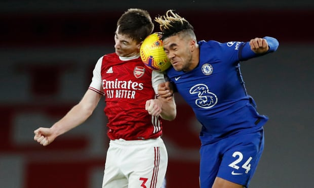 Reece James and Kieran Tierney battle for the ball, even James struggled against Arsenal (Photo by David Price/Arsenal FC via Getty Images)