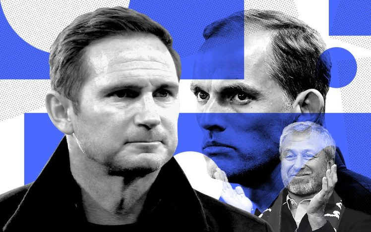 Coaching Contrast: From the young, hungry potential of Frank Lampard to the tenured tactician Thomas Tuchel. Credit | Telegraph UK