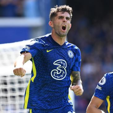 LONDON, ENGLAND - AUGUST 14: Christian Pulisic of Chelsea celebrates after scoring their side's second goal during the Premier League match between Chelsea and Crystal Palace at Stamford Bridge on August 14, 2021 in London, England. (Photo by Darren Walsh/Chelsea FC via Getty Images)