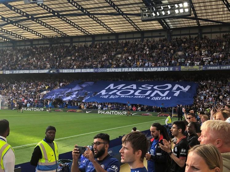 Mason Mount's banner is unveiled against Aston Villa.