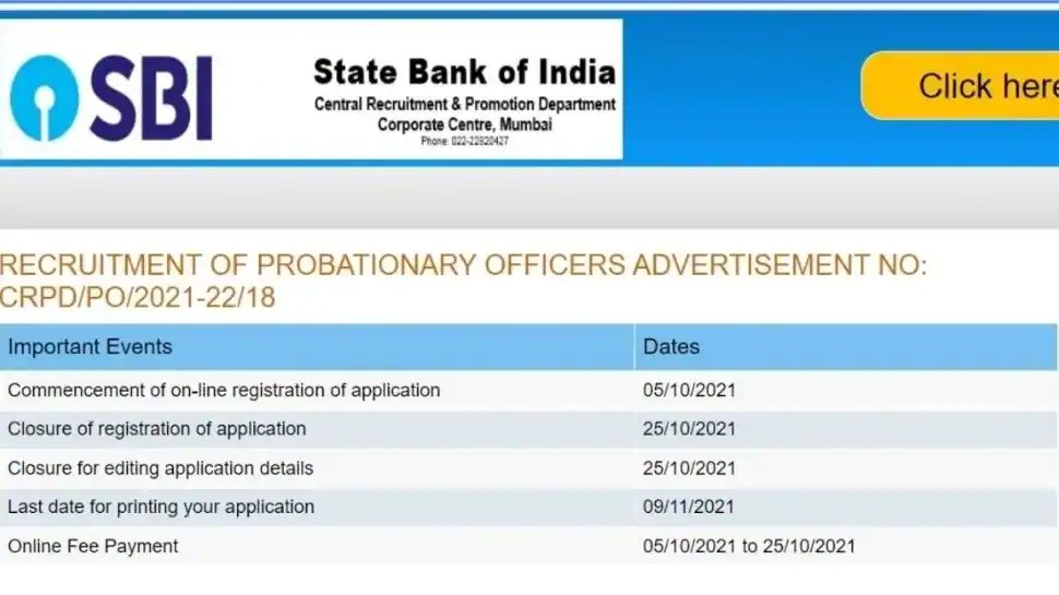 SBI PO Recruitment 2021: Registration for Probationary Officer posts open at sbi.co.in, here's direct link to apply