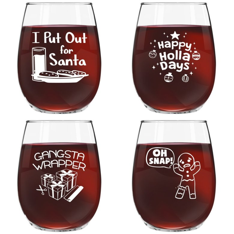 wine glasses that make a great gift this holiday season. They are funny and dishwasher safe