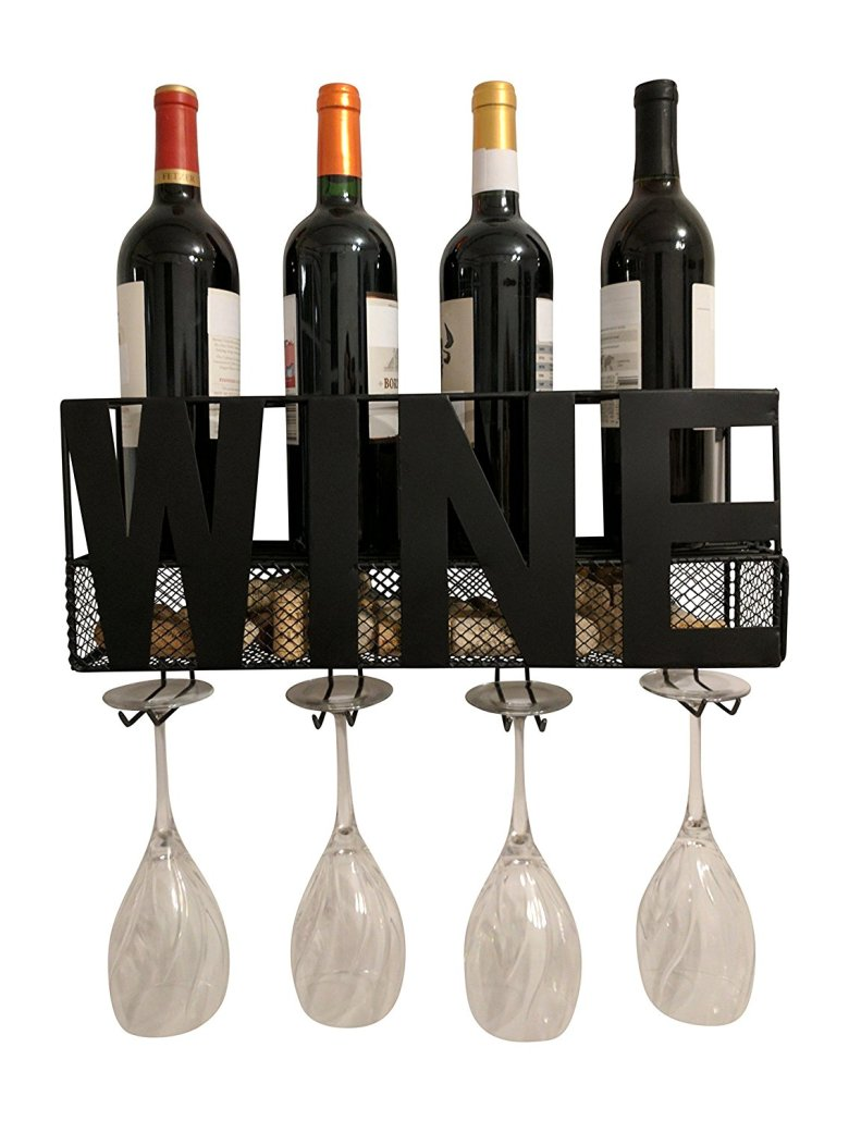 wine holder that holds bottles, glasses, and corks. Makes the perfect housewarming gift