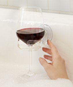 wine holder makes a great gift this holiday for the tub or bath