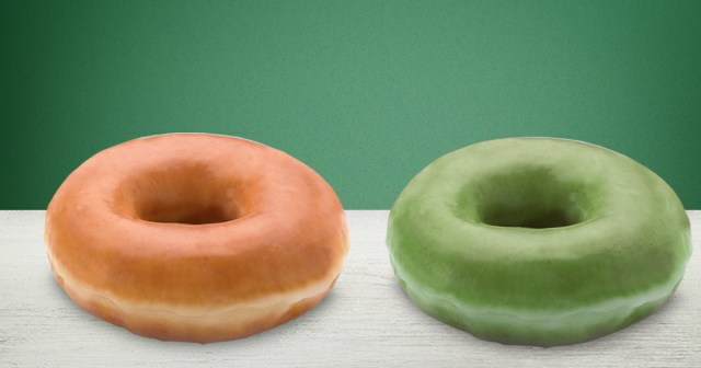 Krispy Kreme doughnuts serving green doughnuts for St. Patrick's Day