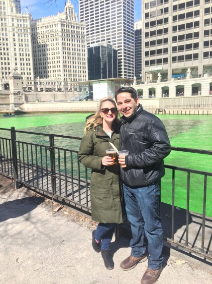 At the Chicago river dying for St. Patrick's Day