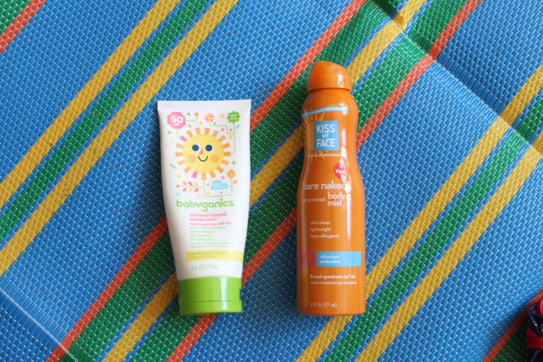 summer essentials for mom and toddler for parks, beach, and pool. Sunscreen, skin and hair products