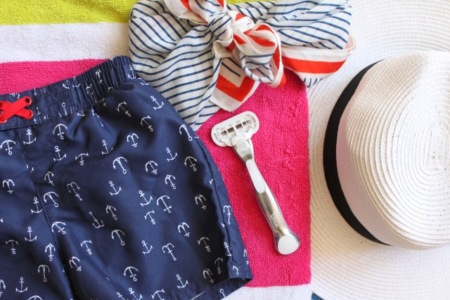 summer essentials for mom and toddler for parks, beach, and pool. Sunscreen, skin and hair products. Summer hat and Gilette Venus razor with metal handle and coupon