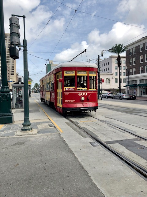 Trolley is an easy way to get around in New Orleans.