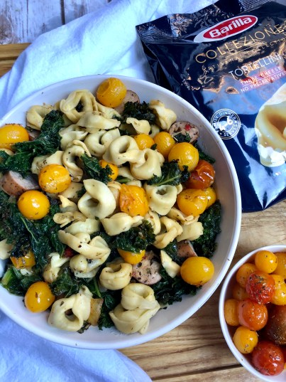 Barilla® Collezione 3 Cheese Tortellini with kale, chicken sausage and yellow tomatoes recipe. Ready in 30 minutes!