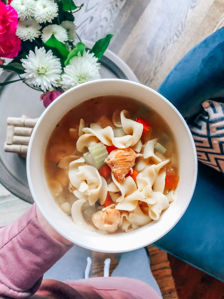 Easy chicken noodle soup perfect for a cold day or meal prep.