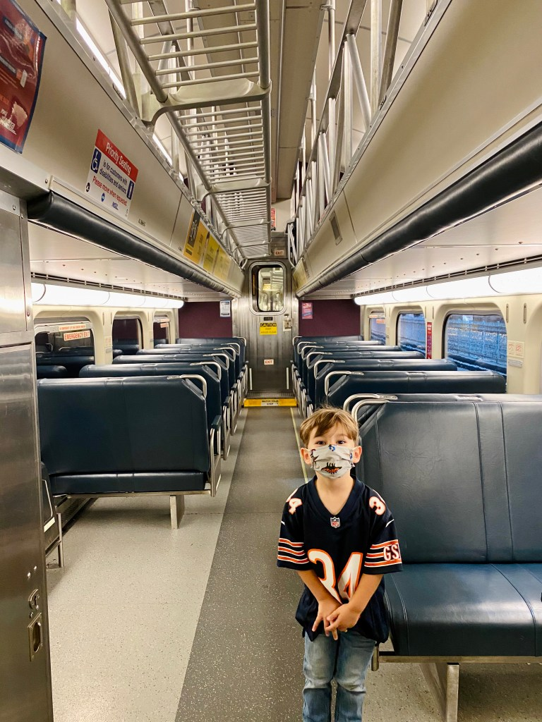 We took the Metra Train to the suburbs and had the entire car to ourselves since ridership is down right now. Masks are required and seating is every other row.