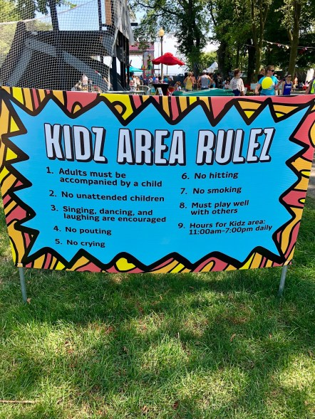 Kidzapoolza area rules at Lollapoolza in Chicago