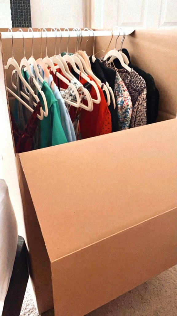 We use garment boxes to help move our clothes and store them. It makes it so easy to unpack!