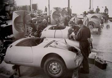 Wendler Workshop assembling the first Porsche 550 Spyder customer cars