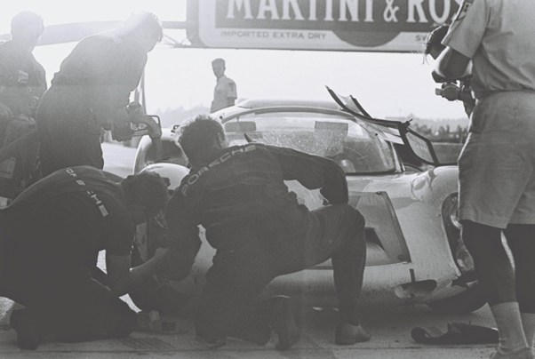 Porsche pits at 1967 Sebring