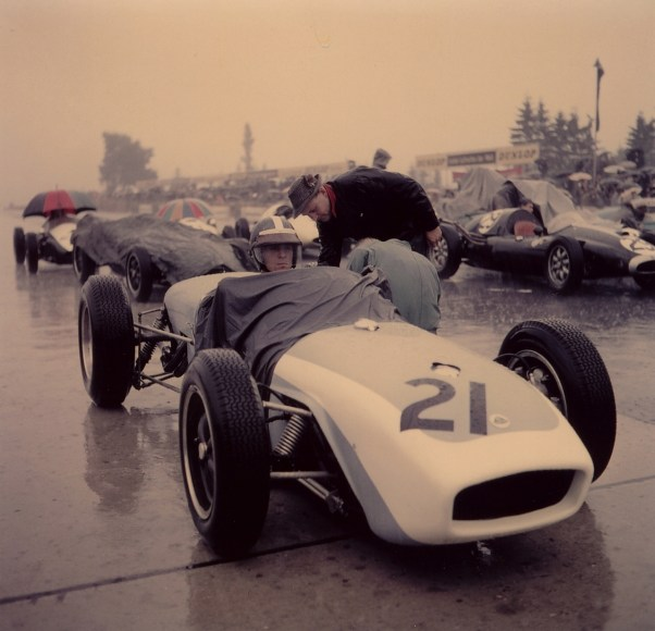 Dan Gurney's Lotus 18 gridding up for the 1960 German GP