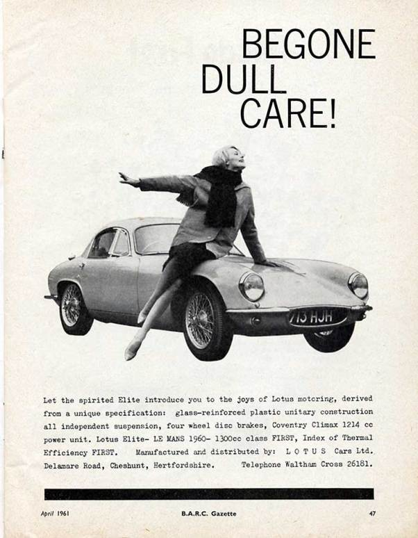 Lotus Ad in BARC Gazette, 1961