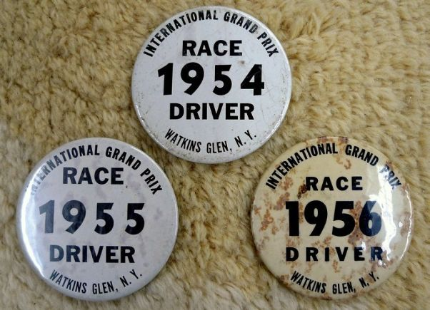 Watkins Glen Drivers' Badges: 1954, 1955, 1956