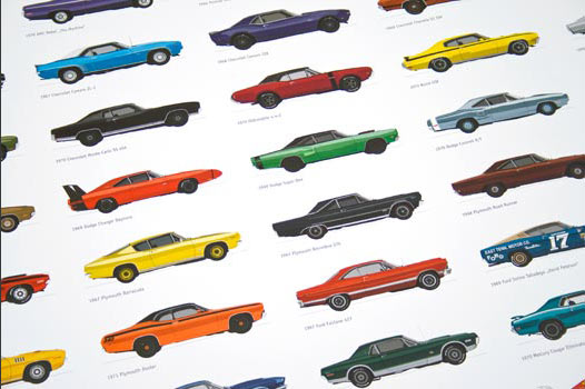 Gorgeously illustrated Muscle Cars Poster