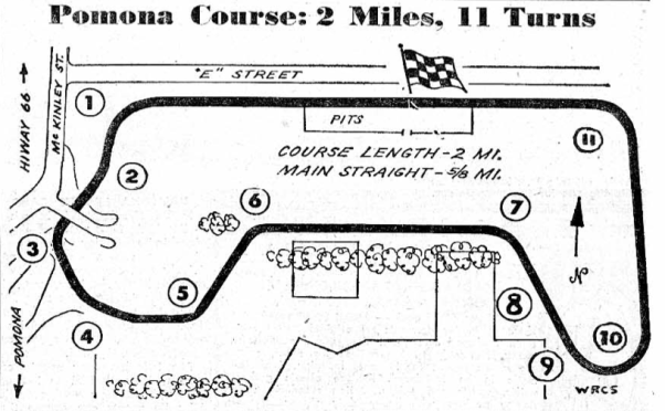 Pomona Road Races Track Map