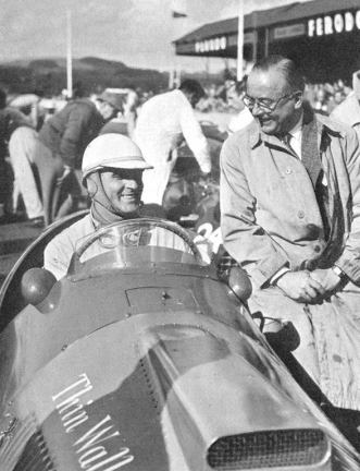 Giuseppe Farina in the Thin Wall Special Ferrari. 1952 Woodcote Trophy. Goodwood.
