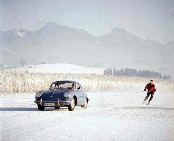 Skiing with a Porsche 356