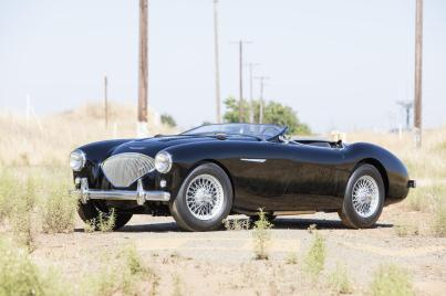 1955 Austin-Healey 100 BN1. I can't believe that adjustable racing windscreen didn't get more widely adopted.
