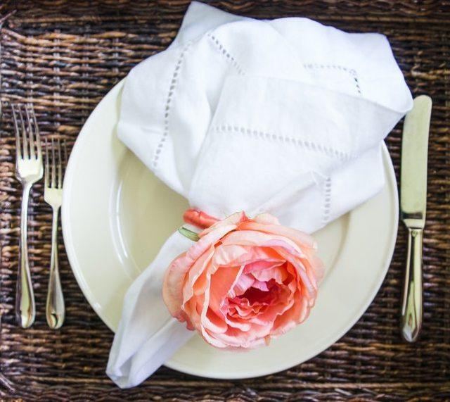 Rose napkin ring place setting