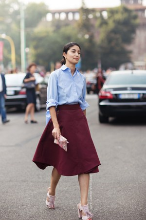 burgundy-a-line-skirt