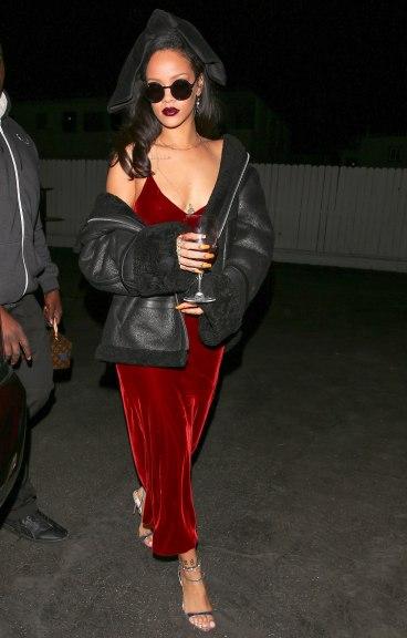 rihanna-red-velvet-dress