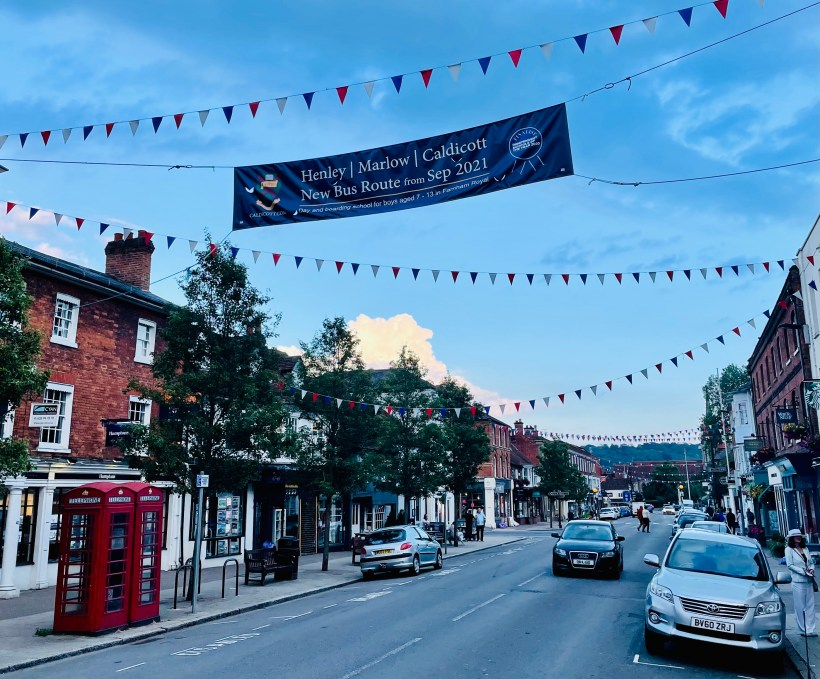 Cheerful bunting on the high street