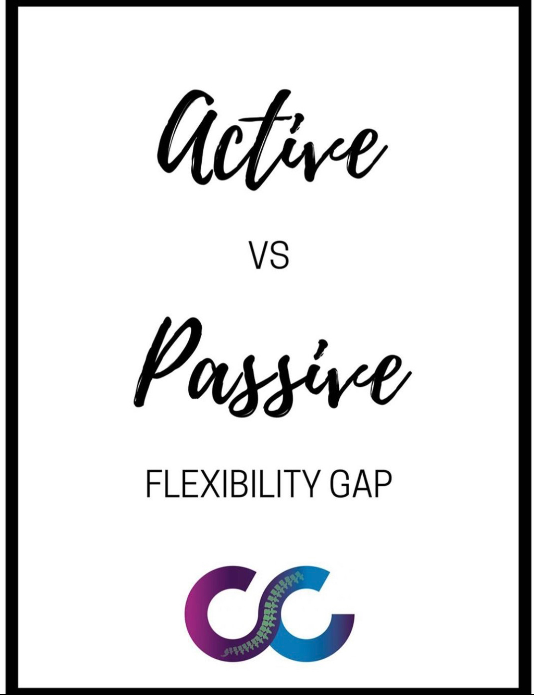 Active vs Passive flexibility gap graphic with The Chiro Co logo at the bottom