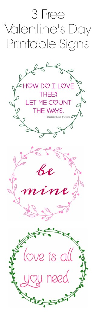 3 free Valentine's Day Printable signs